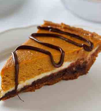 Vegan pumpkin cheesecake with a hint of chocolate