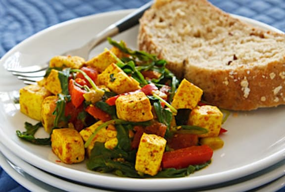 Tofu and spinach scramble