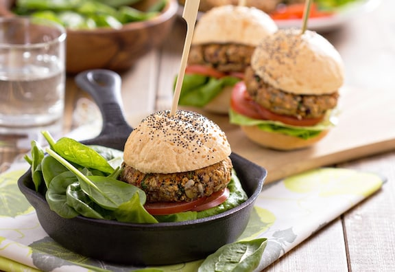 Vegan bean burgers or sliders