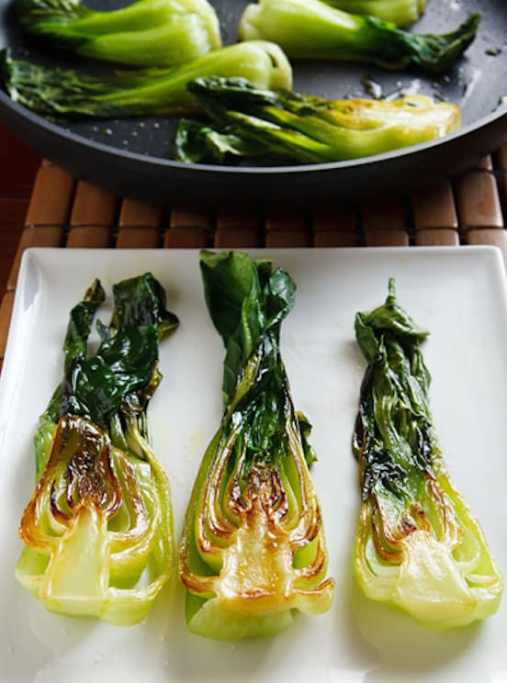 Seared baby bok choy from Wild About Greens