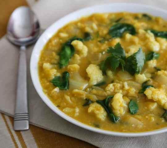 Curried Red Lentil Pumpkin Cauliflower soup recipe