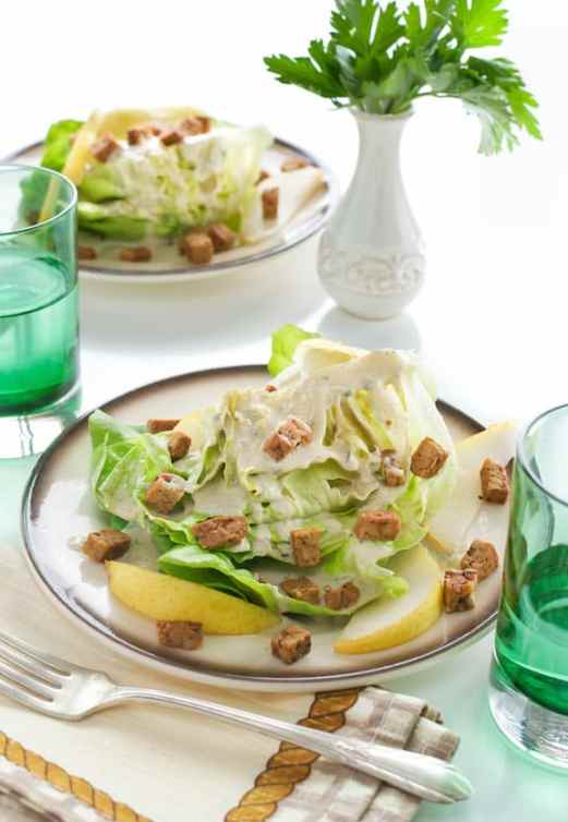 Butter Lettuce Wedge Salad with Pears and Tempeh Bacon