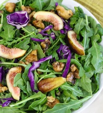 Arugula and Fresh Fig Salad with toasted walnuts