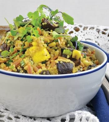 Vegan Roasted Zucchini and Mushroom Pilaf Bowl