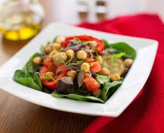 Roasted ratatouille on salad