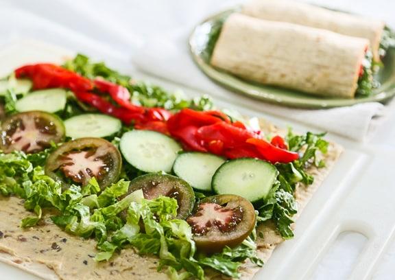 Hummus Veggie Lavash Wrap