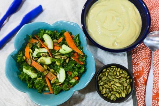Kale and Cucumber Salad with Avocado-Tahini Dressing recipe