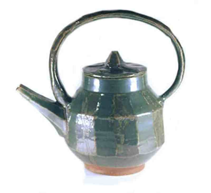 green stoneware teapot handmade kitchen gifts