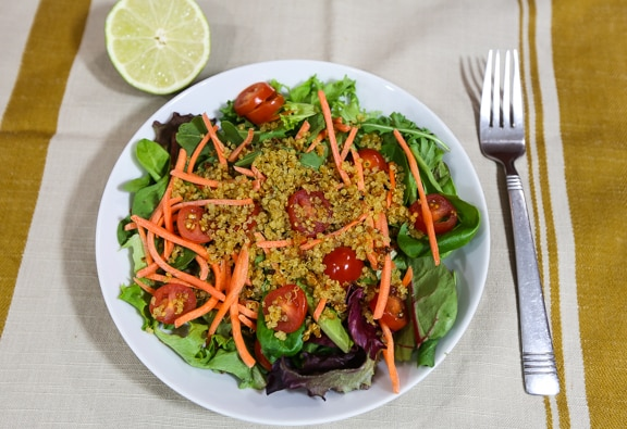 Crispy quinoa on salad
