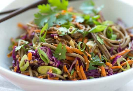 Sesame Soba Salad with carrots