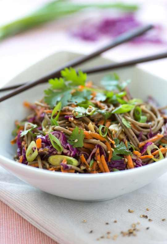 Sesame Soba Salad with carrots Josie Grant
