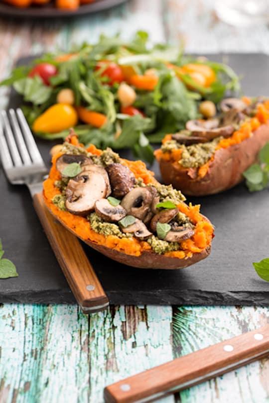 Mushroom and Pesto-Stuffed sweet potato dinner