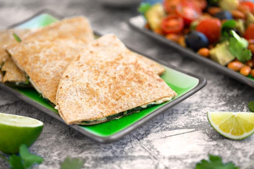 Vegan spinach quesadillas