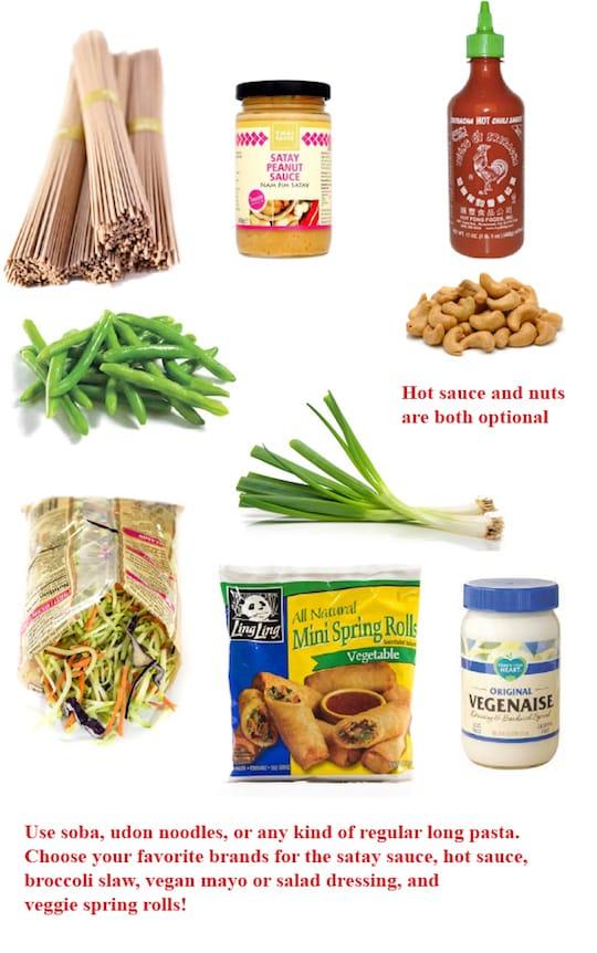 Peanut noodle dinner ingredients