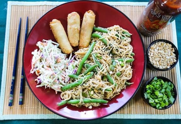 Peanut noodles dinner