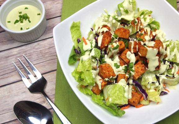 buffalo tempeh salad with creamy vegan ranch dressing
