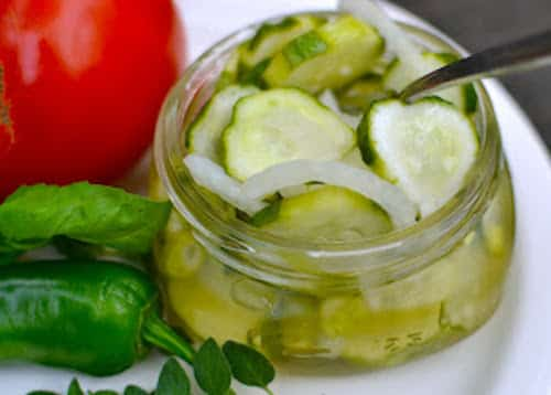 Cucmber and onion refrigerator pickles from A Southern Soul
