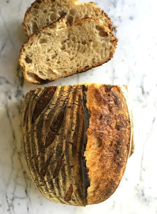 Sourdough loaf sliced