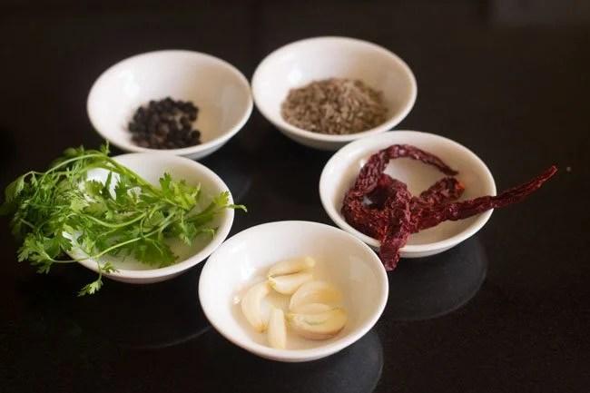 ingredients for making tamarind rasam