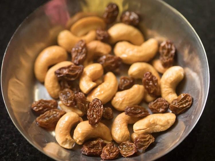 fried cashews and raisins in the plate for kesari recipe