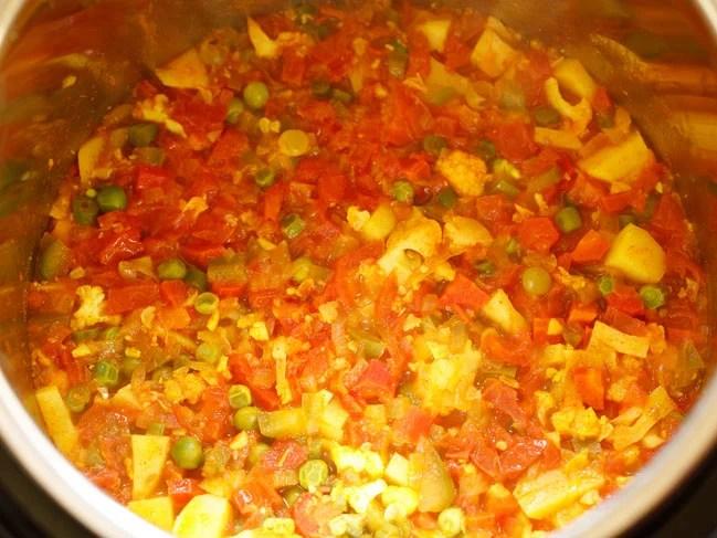 cooked bhaji in instant pot