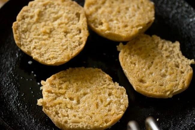 lightly toasted pav on griddle