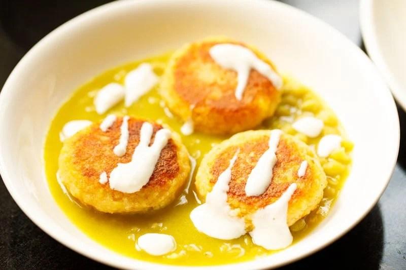 curd added to potato patties