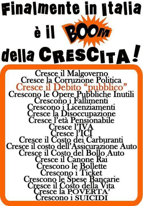 FINALMENTE IN ITALIA E' IL BOOM DELLA CRESCITA