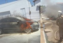 Motorista estaciona carro e logo após começa a pegar fogo