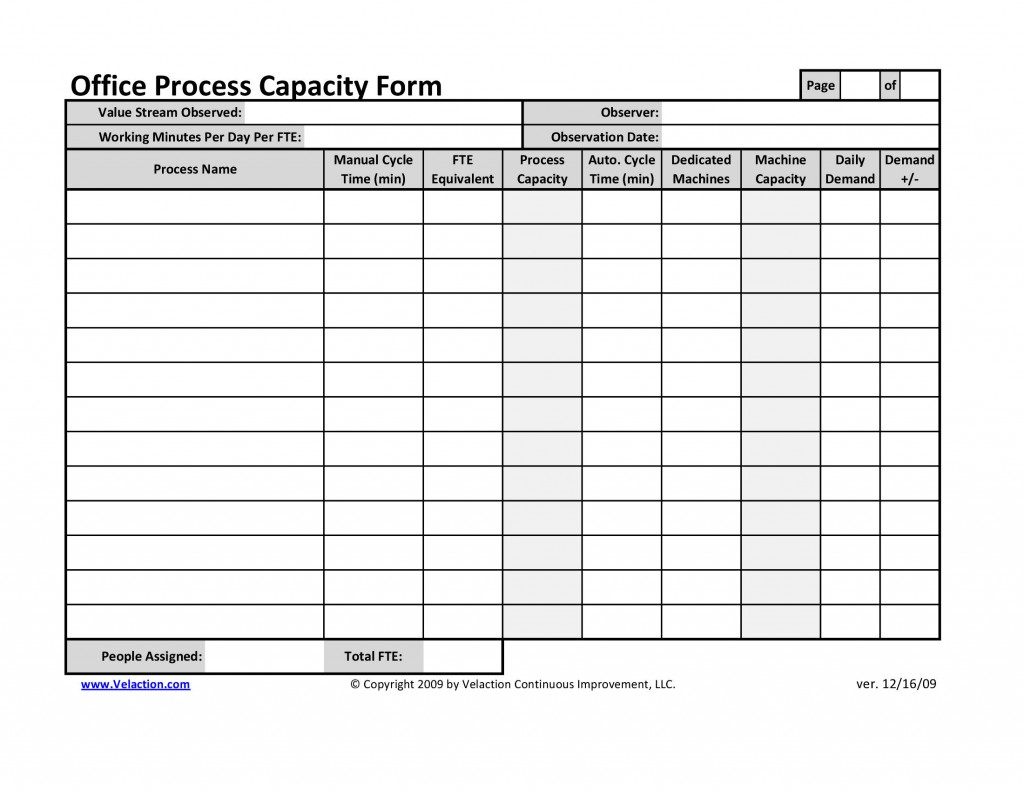 Office Process Capacity Sheet