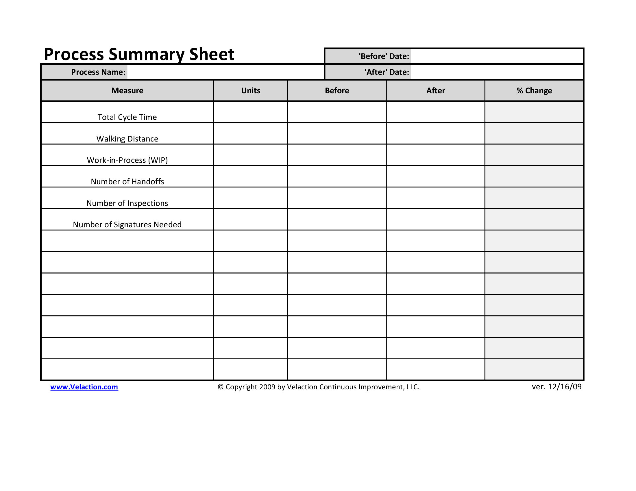 Office Process Recording Sheet