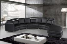 Italian Design Circular Sofa - Black Leather