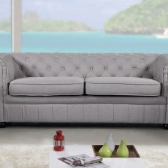 Chesterfield Style Fabric Sofa How To Make A Sleeper Bed More Comfortable Modern Light Grey