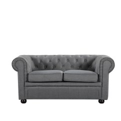 Chesterfield Style Fabric Sofa Chelsea Square Modern Dark Grey Loveseat