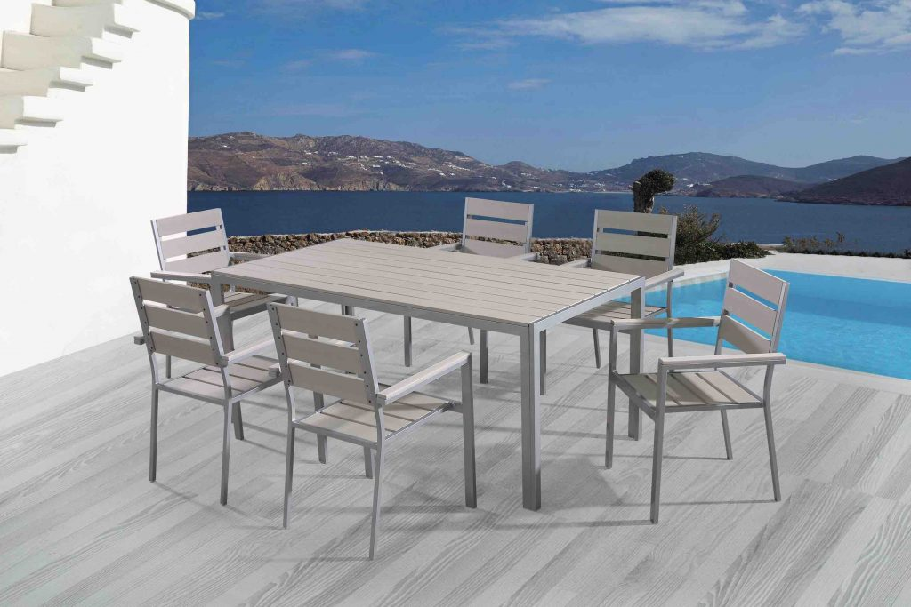 6 seat outdoor polywood dining set vittore