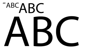 text sized at various font sizes