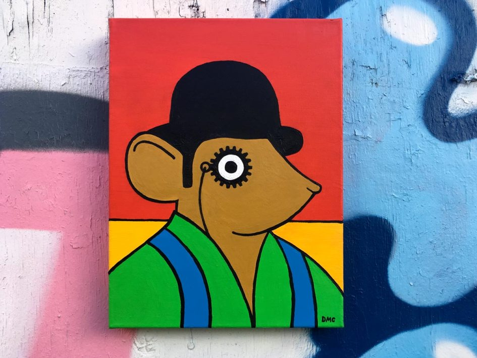 Clockwork Orange Mouse painted box canvas