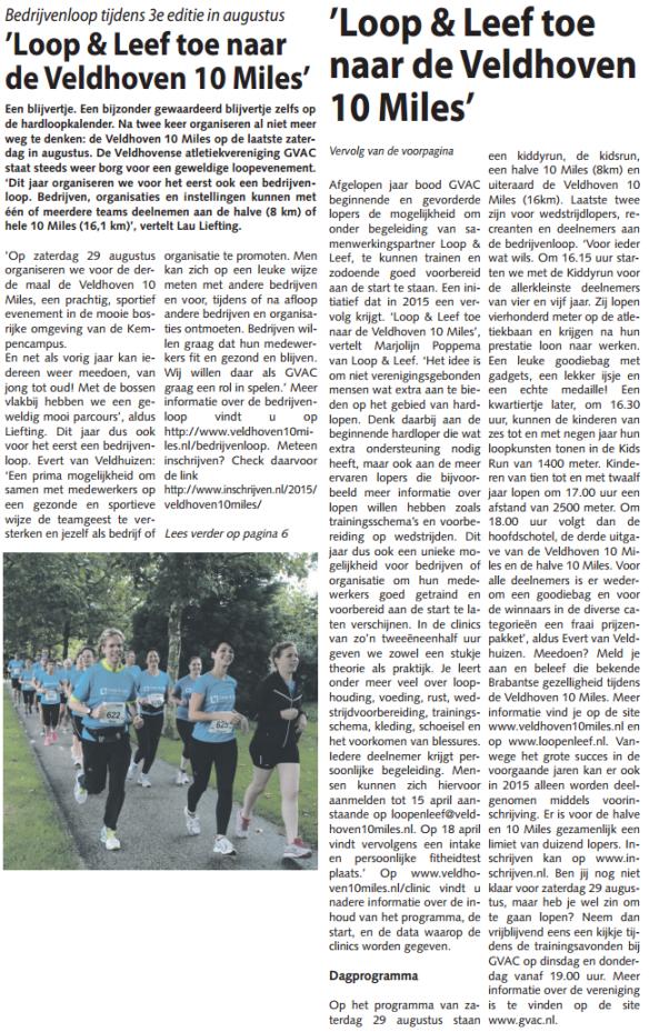 ClinicInVeldhovensWeekblad2015