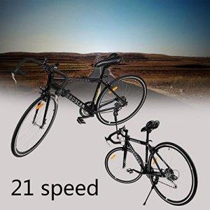 Ridgeyard 26″ 54cm aluminium vélo de route course cycliste 21 vitesse vélo fourches Black 700C