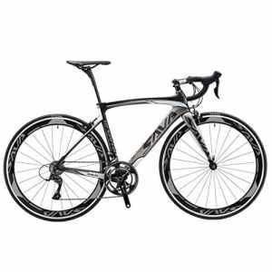 SAVA Vélo de Route de Fibre de Carbone 700C SHIMANO 4700 20-Vitesses Système (Noir & Gris, 480mm)