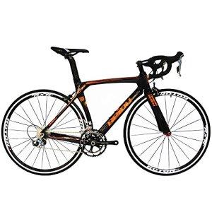 BEIOU® 2016 700C Route Shimano 105 Bike 5800 11S Vélo de course T800-M40 en fibre de carbone Aero cadre 18.3lbs ultra-légers CB013A-2 (Noir brillant et orange, 560mm)
