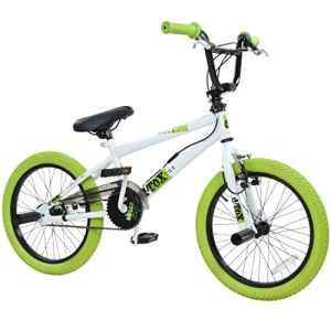 deTOX Vélo BMX 18″ Freestyle pour enfants et débutants à partir de 120cm, à partir de 6ans, Blanc/vert