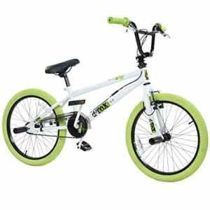 deTOX Freestyle, vélo BMX 20″ pour enfants, débutants à partir de 130cm, 7 ans, Blanc/vert