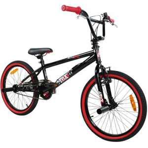 deTOX Freestyle, vélo BMX 20″ pour enfants, débutants à partir de 130cm, 7 ans, noir/rouge