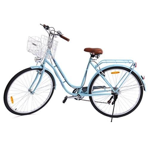 Paneltech 28 pouces ville pour femme de vélo , vélo hollandais à 7 vitesses Femme City Bike, bleu clair, avec panier et feu avant, feu arrière 22kg