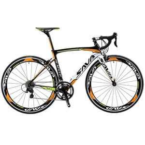SAVA Vélo de Route de T800 Fibre de Carbone 700C Shimano 105 5800 22 Vitesses Système (Noir Blanc Orange, 52cm)