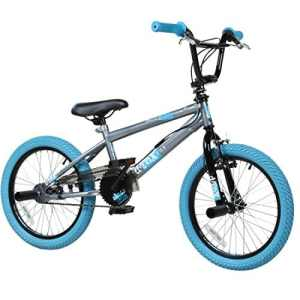 Vélo Freestyle Zoll BMX 18″ pour enfants, débutants à partir de 120 cm, 6 ans., gris/bleu
