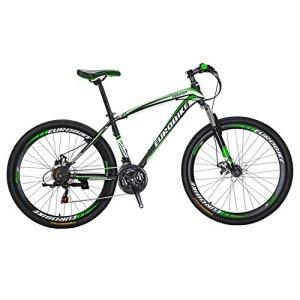 Eurobike X1VTT 21Speed double Frein à disque 27,5Roues Fourche de suspension de vélo de montagne, noir/vert