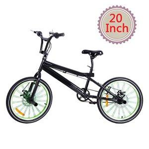 Ridgeyard Vélo BMX Freestyle 20″ 6 vitesses Rotor System 360°4 chevilles BMX Bike (Noir + Vert)