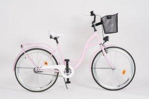 Milord. 2018 Vélo de Confort avec Panier, Byciclette, Vélo Femme, Vélo de ville, 1 Vitesse, Rose, 26 Pouces